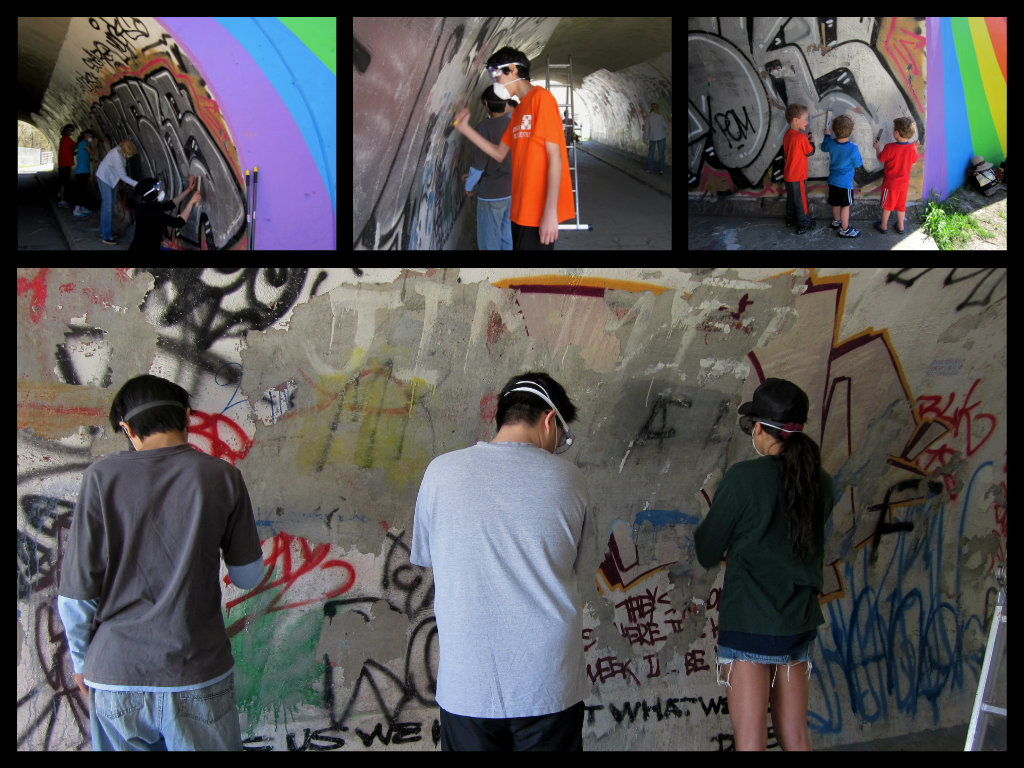 Lot's of scraping away layers of graffiti - this was the hard part!