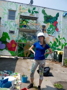 Emily, CONTINUUM participant, led our summer 2014 community/youth mural project, Creekside under the mentorship of Rob Matejka
