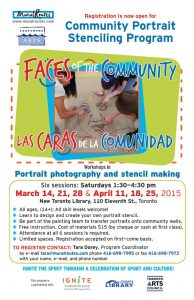 "Community portrait stencil program ""Faces of the Community/ Las Caras de la Comunidad"" with Lakeshore Arts"